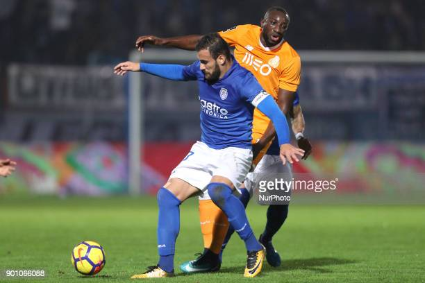 Porto's Malian forward Moussa Marega vies with Feirense's Portuguese defender Luis Rocha during the Premier League 2016/17 match between CD Feirense...