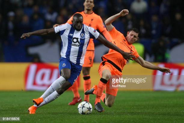 Porto's Malian forward Moussa Marega vies with James Milner midfielder of Liverpool during the UEFA Champions League match between FC Porto and...