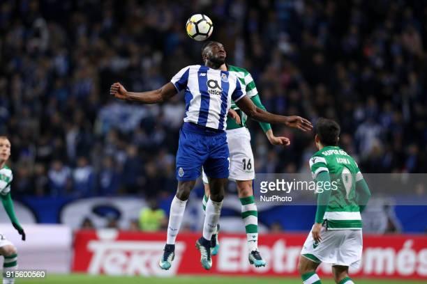 Porto's Malian forward Moussa Marega vies with Sporting's Argentinian midfielder Rodrigo Battaglia during the Portuguese Cup 2017/18 match between FC...