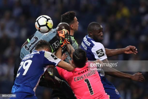 Porto's Malian forward Moussa Marega vies with Vitoria Setubal's Portuguese forward Edinho Vitoria Setubal's Portuguese goalkeeper Cristiano...