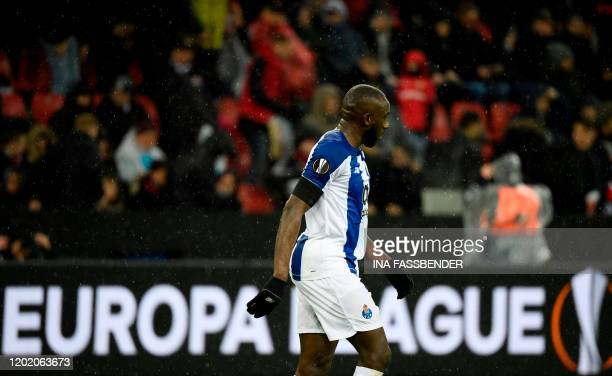 FC Porto's Malian forward Moussa Marega walks on the field during their Europa League last 32 First Leg soccer match between Bayer Leverkusen v FC...