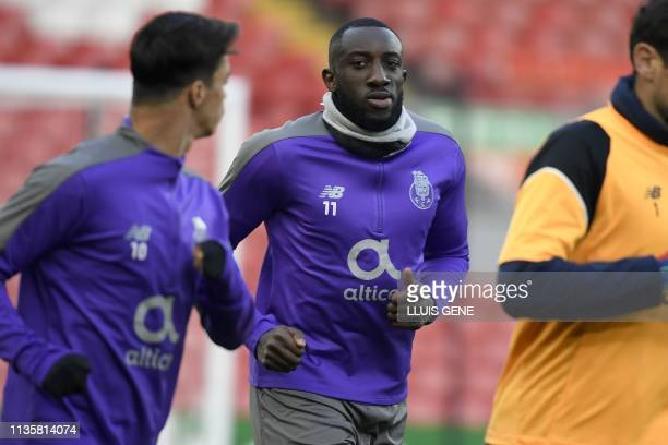 Porto's Malian striker Moussa Marega and teammates take part in a training session at Anfield Stadium in Liverpool north west England on April 8 on...