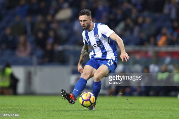 Porto's Mexican defender Miguel Layun in action during the Premier League 2017/18 match between FC Porto and Vitoria SC at Dragao Stadium in Porto on...