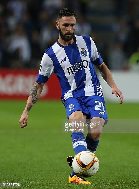 Porto's mexican defender Miguel Layun in action during the UEFA Europa League Round of 32 Second Leg match between FC Porto and Borussia Dortmund at...