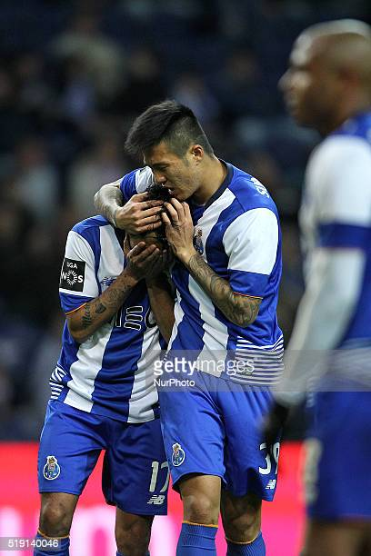 Porto's Mexican forward Jesús Corona reacts after missing a goal with Porto's Korean forward Suk during the Premier League 2015/16 match between FC...