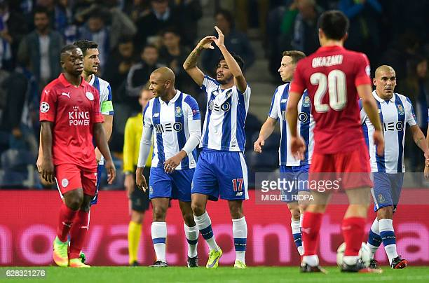 Porto's Mexican forward Jesus Corona celebrates after scoring a goal during the UEFA Champions League football match FC Porto vs Leicester City FC at...