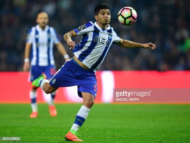 Porto's Mexican forward Jesus Corona kicks the ball during the Portuguese league football match FC Porto vs CD Tondela at the Dragao stadium in Porto...