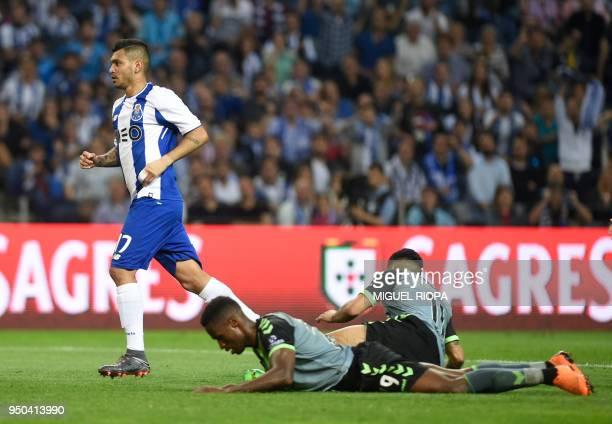 Porto's Mexican forward Jesus Corona runs after scoring a goal during the Portuguese league football match between FC Porto and Vitoria Setubal at...