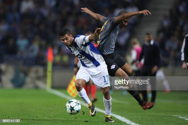 Porto's Mexican forward Jesus Corona vies with Midfielder Bernardo of Leipzig during the UEFA Champions League Group G match between FC Porto and RB...