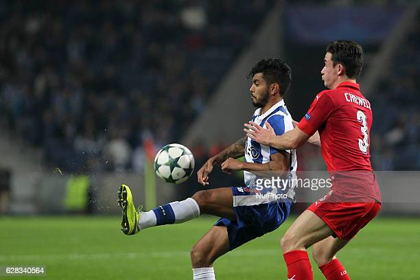 Porto's Mexican forward Jesus Corona with Leicester City's defender Ben Chilwell during the UEFA Champions League Group G match between FC Porto and...