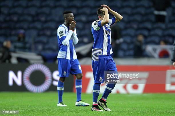 Porto's Mexican midfielder Héctor Herrera reacts after end of game during the Premier League 2015/16 match between FC Porto and CD Tondela at Dragão...