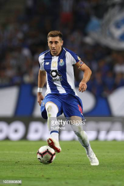 Porto's Mexican midfielder Hector Herrera in action during the Premier League 2018/19 match between FC Porto and Vitoria SC at Dragao Stadium in...