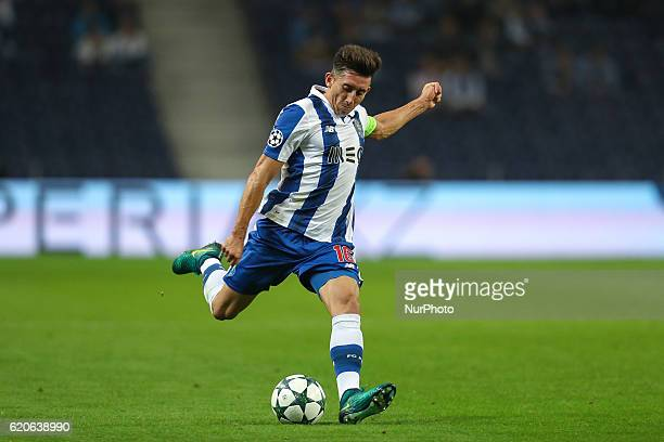 Porto's Mexican midfielder Hector Herrera in action during the UEFA Champions League Group G match between FC Porto and Club Brugge at Dragao Stadium...