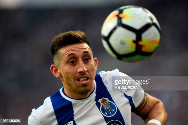 Porto's Mexican midfielder Hector Herrera runs for the ball during the Portuguese league football match between FC Porto and Vitoria Setubal at the...