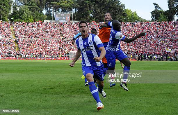 Porto's midfielder Andre Silva celebrates after scoring a goal during the Portuguese Cup final football match FC Porto vs SC Braga at the Jamor...