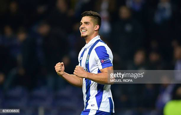 Porto's midfielder Andre Silva celebrates after scoring a goal during the UEFA Champions League football match FC Porto vs Leicester City FC at the...