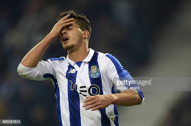 Porto's midfielder Andre Silva reacts after loosing a chance to score during the Portuguese league football match FC Porto vs GD Chaves at the Dragao...