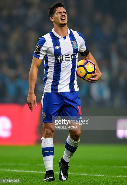 Porto's midfielder Andre Silva reacts before a penalty kick during the Portuguese league football match FC Porto vs SC Braga at the Dragao stadium in...