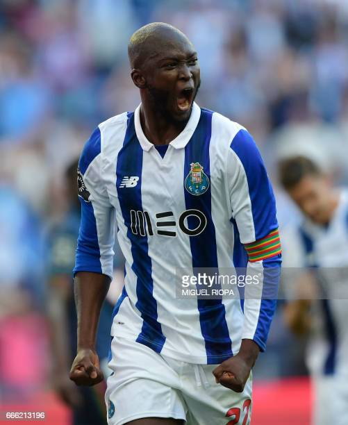 Porto's midfielder Danilo Pereira celebrates after scoring a goal during the Portuguese league football match FC Porto vs OS Belenenses at the Dragao...