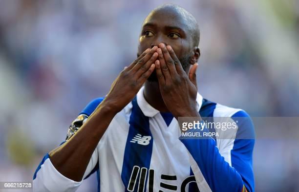 Porto's midfielder Danilo Pereira celebrates after scoring a goal during the Portuguese league football match FC Porto vs OS Belenenses at the Dragao...