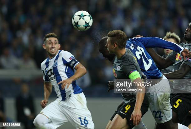 Porto's midfielder Danilo Pereira from Portugalscores Porto second goal during the match between FC Porto v RB Leipzig or the UEFA Champions League...