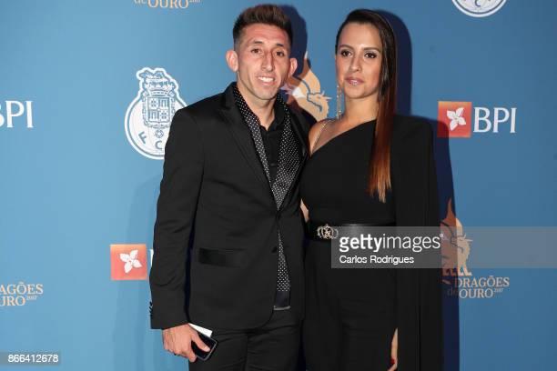 Porto's midfielder Hector Herrera from Mexico and wife Chantal Mato attends FC Porto Gala Dragoes de Ouro 2016 2017 at Dragao Caixa on October 25...