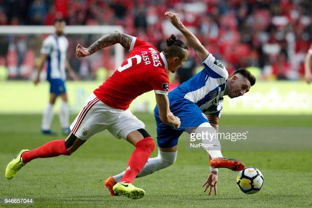 Porto's midfielder Hector Herrera vies for the ball with Benfica's midfielder Ljubomir Fejsa during Primeira Liga 2017/18 match between SL Benfica vs...