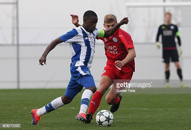 Porto's midfielder Moreto Cassama with Kiernan DewsburyHall of Leicester City FC in action during the UEFA Youth Champions League match between FC...