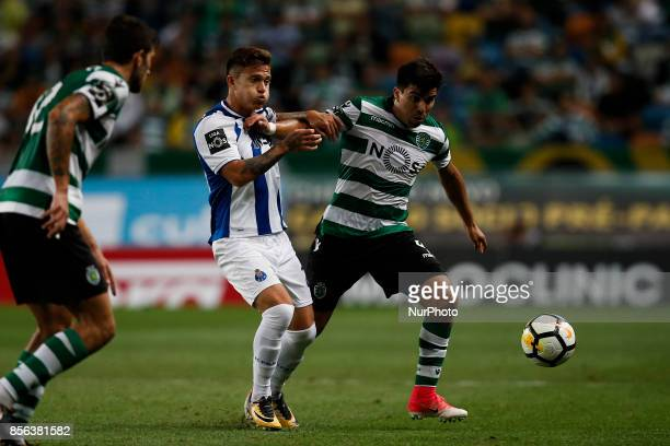 Porto's midfielder Otavio vies for the ball with Sporting's defender Jonathan Silva during Primeira Liga 2017/18 match between Sporting CP vs FC...