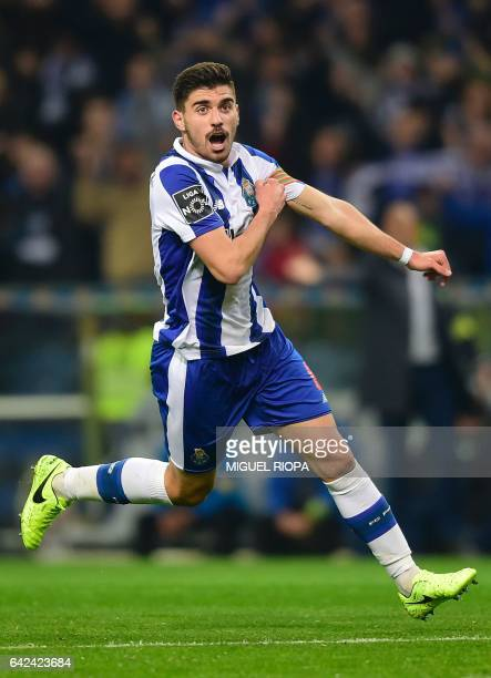Porto's midfielder Ruben Neves celebrates after scoring during the Portuguese league football match FC Porto vs CD Tondela at the Dragao stadium in...