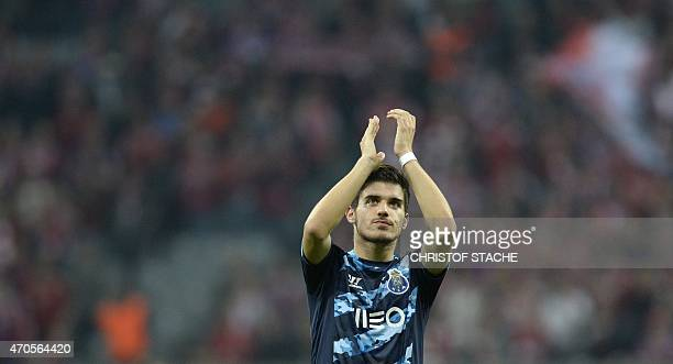 Porto's midfielder Ruben Neves reacts after the UEFA Champions League secondleg quarterfinal football match Bayern Munich v FC Porto in Munich...