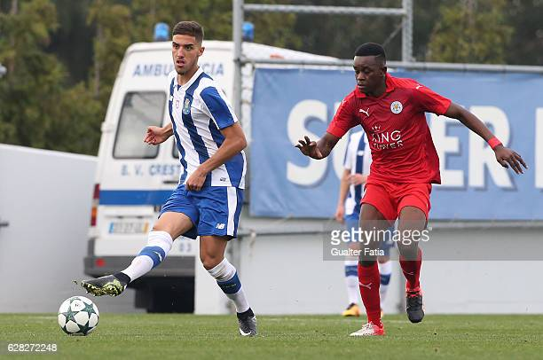 Porto's midfielder Rui Pires with Admiral Muskwe of Leicester City FC in action during the UEFA Youth Champions League match between FC Porto and...