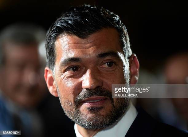 Porto's new coach Sergio Conceicao attends a press conference during his official presentation at the Dragao stadium in Porto on June 8 after signing...