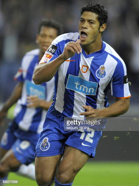 Porto's player Brazilian Givanilno 'Hulk' Souza celebrates after scoring against Pacos Ferreira during their Portuguese Super league football match...