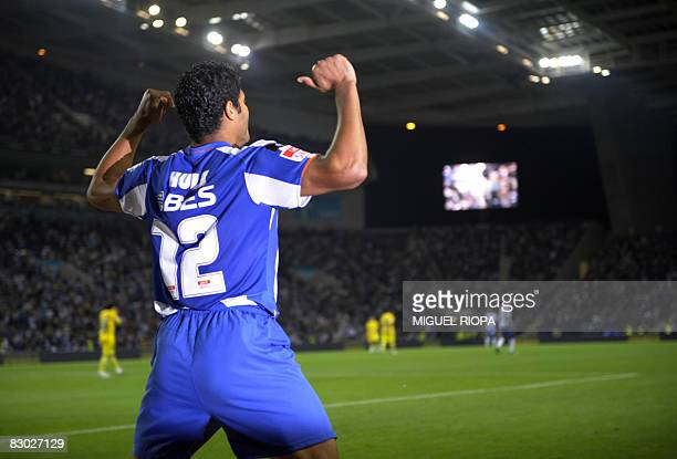 FC Porto's player Brazilian Givanilno 'Hulk' Souza celebrates after scoring against Pacos Ferreira during their Portuguese Super league football...