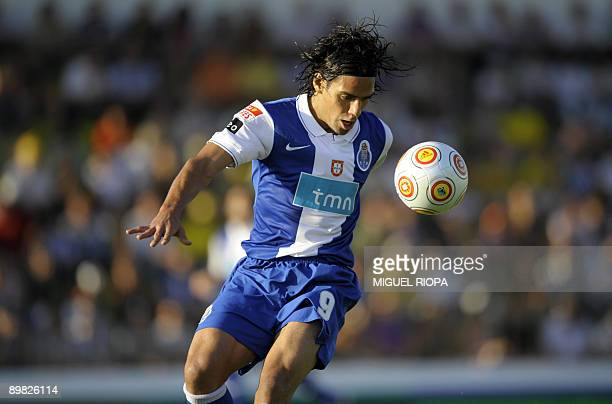 FC Porto's player Colombian Radamel Falcao controls the ball during their Portuguese First league football match against Pacos Ferreira at the Mata...