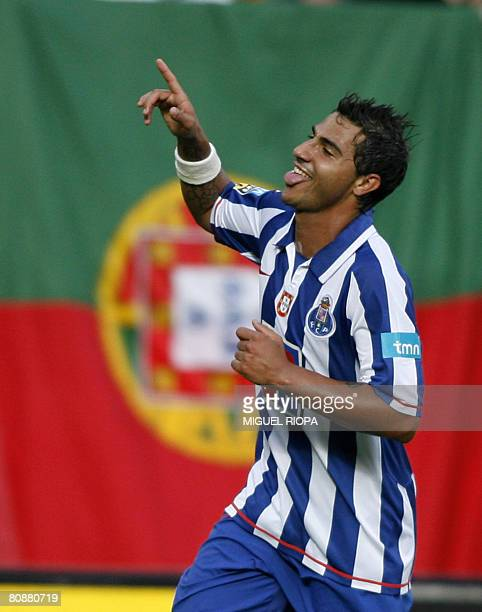 FC Porto's player Ricardo Quaresma celebrates after scoring 3rd goal against Vitoria Guimaraes during their Portuguese Super league football match at...