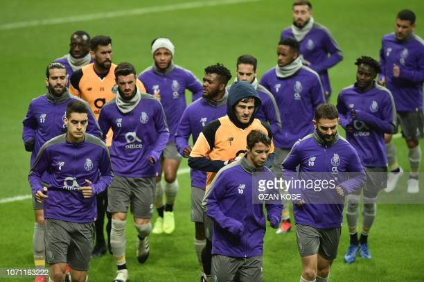 Porto's players take part in a training session at the TT Ali Sami Yen sport complex in Istanbul on December 10, 2018 on the eve of the UEFA...