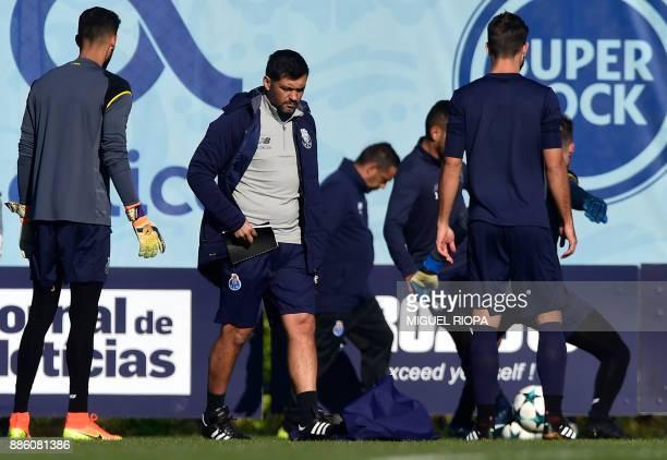 Porto's Portuguese coach Sergio Conceicao attends a training session at the Olival Training Centre in Vila Nova de Gaia, outskirts of Porto, on...