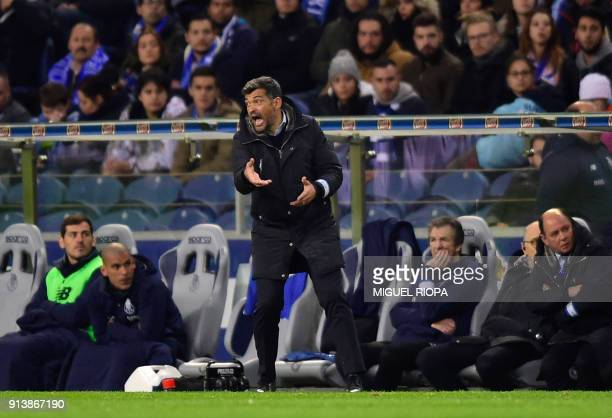 Porto's Portuguese coach Sergio Conceicao gives instructions from the sideline during the Portuguese league football match between FC Porto and SC...