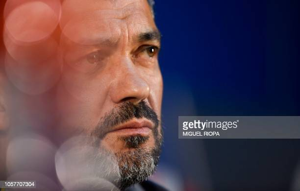 Porto's Portuguese coach Sergio Conceicao holds a press conference at the Dragao stadium in Porto on November 5, 2018 on the eve of the UEFA...