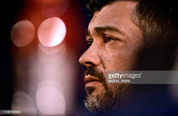 Porto's Portuguese coach Sergio Conceicao holds a press conference at the Dragao stadium in Porto on March 5 on the eve of the UEFA Champions League...