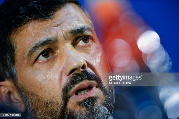 Porto's Portuguese coach Sergio Conceicao holds a press conference at the Dragao Stadium in Porto on April 16, 2019 on the eve of the UEFA Champions...
