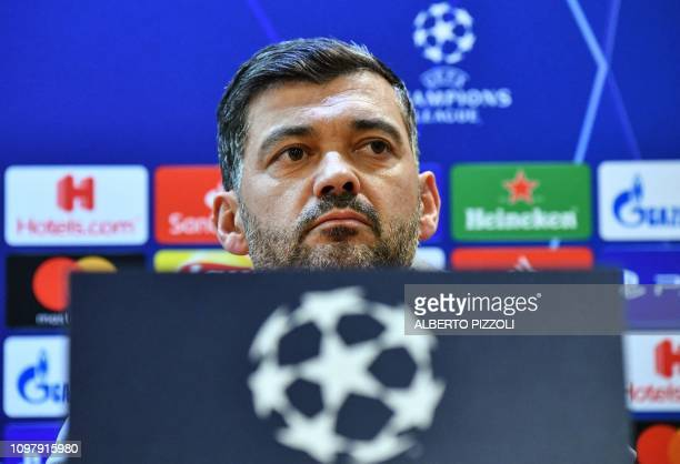 Porto's Portuguese coach Sergio Conceicao looks on during a press conference on February 11, 2019 at the Olympic stadium in Rome, on the eve of the...