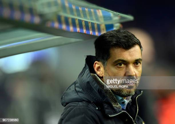 Porto's Portuguese coach Sergio Conceicao looks on from the bench before the during the Portuguese league football match between FC Porto and CD...