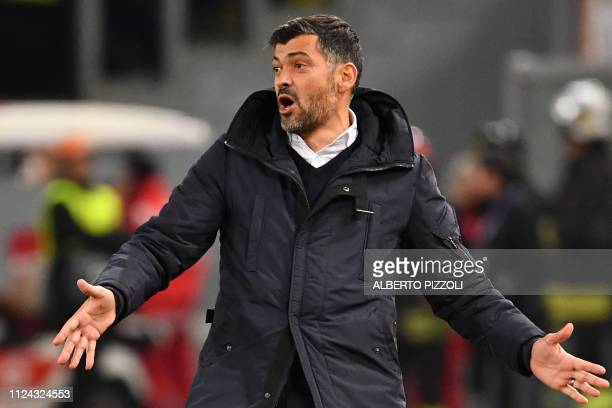 Porto's Portuguese coach Sergio Conceicao reacts during the UEFA Champions League round of 16, first leg football match AS Roma vs FC Porto on...