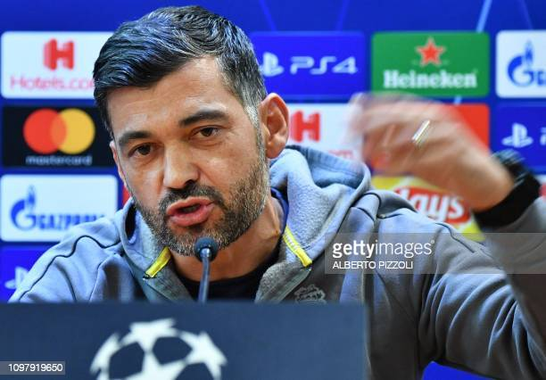 Porto's Portuguese coach Sergio Conceicao speaks during a press conference on February 11, 2019 at the Olympic stadium in Rome, on the eve of the...