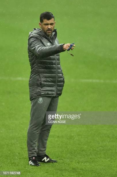 Porto's Portuguese coach Sergio Conceicao takes part in a training session at the TT Ali Sami Yen sport complex in Istanbul on December 10, 2018 on...