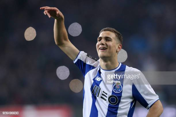 Porto's Portuguese defender Diogo Dalot celebrates the victory in the game during the Premier League 2017/18 match between FC Porto and Sporting CP...