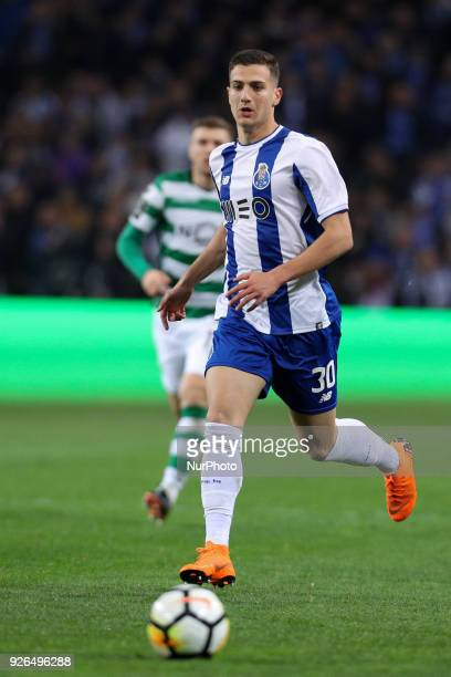 Porto's Portuguese defender Diogo Dalot in action during the Premier League 2017/18 match between FC Porto and Sporting CP at Dragao Stadium in Porto...
